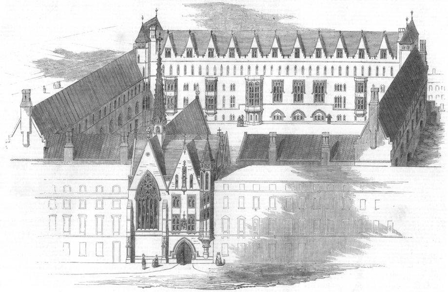 Associate Product LONDON. Training schools, Victoria St, Westminster, antique print, 1852