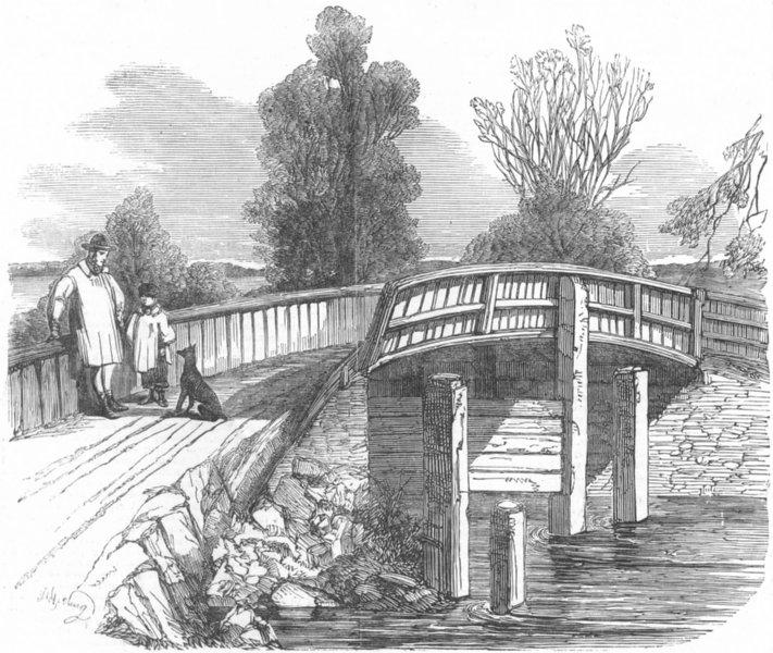 Associate Product KENT. Hartlake Bridge over Medway, Hadlow, accident, antique print, 1853