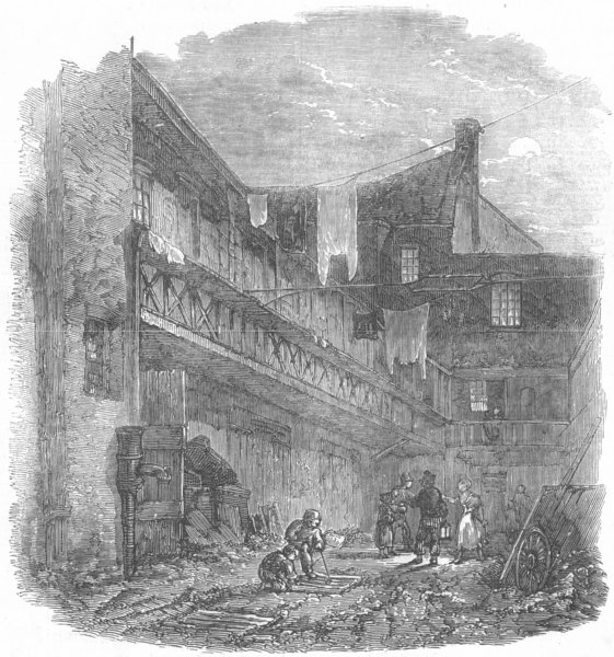 Associate Product LONDON. The King's Arms Yard, Coal-Yard, Drury-Lane, antique print, 1853
