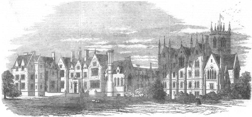Associate Product LANCS. St Elfin's(New) Schools, Warrington, antique print, 1853