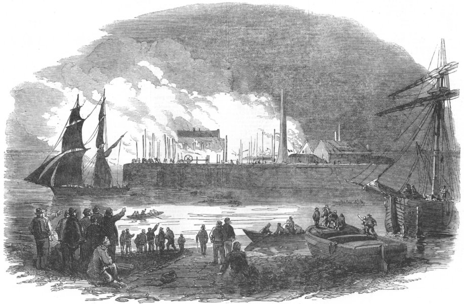 LONDON. Burning down of a dockyard, at Milwall, antique print, 1853