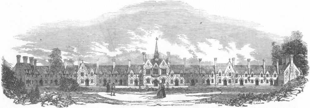 Associate Product LONDON. St Pancras Almshouses, Kentish-Town, antique print, 1853