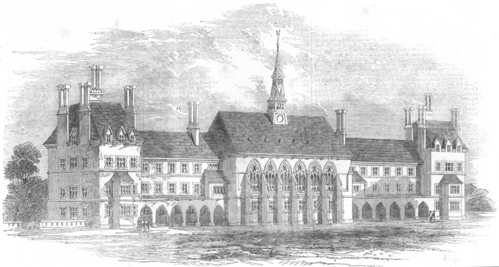 Associate Product LONDON. Travellers' society's new schools, Pinner, antique print, 1853