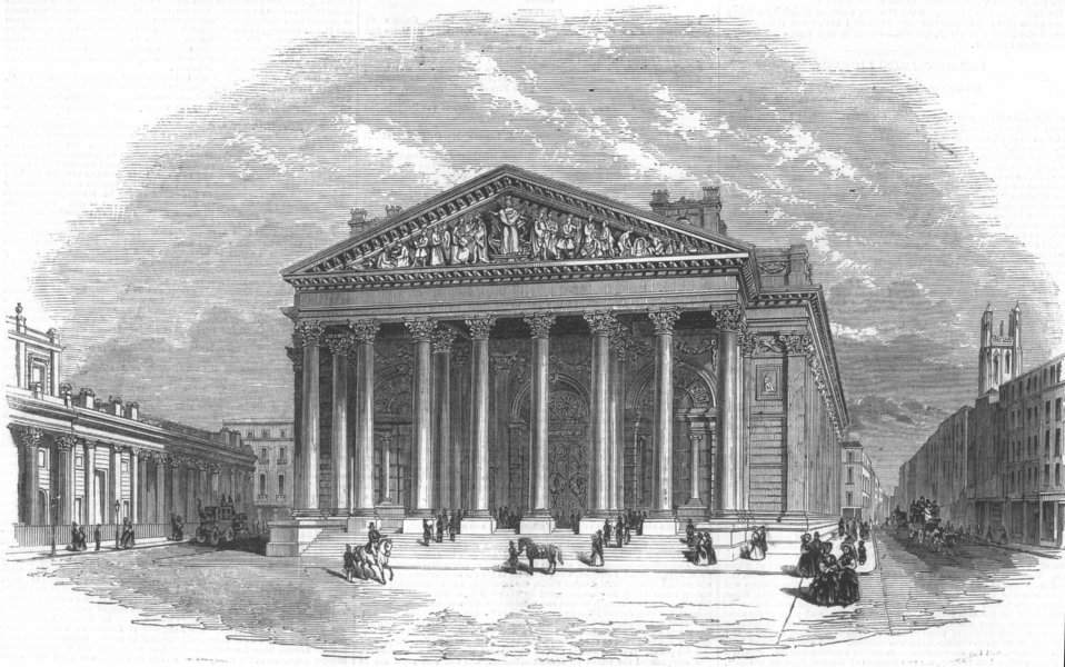 Associate Product LONDON. New Royal Exchange, antique print, 1844