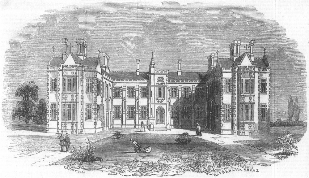 Associate Product LONDON. New hospital for consumption, Fulham-Road, antique print, 1844