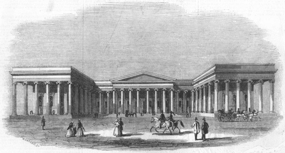 Associate Product LONDON. Facade of the British Museum, antique print, 1844