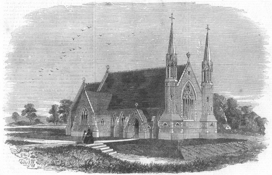 Associate Product LANCS. Christ Church, recently erected at Lancaster, antique print, 1858