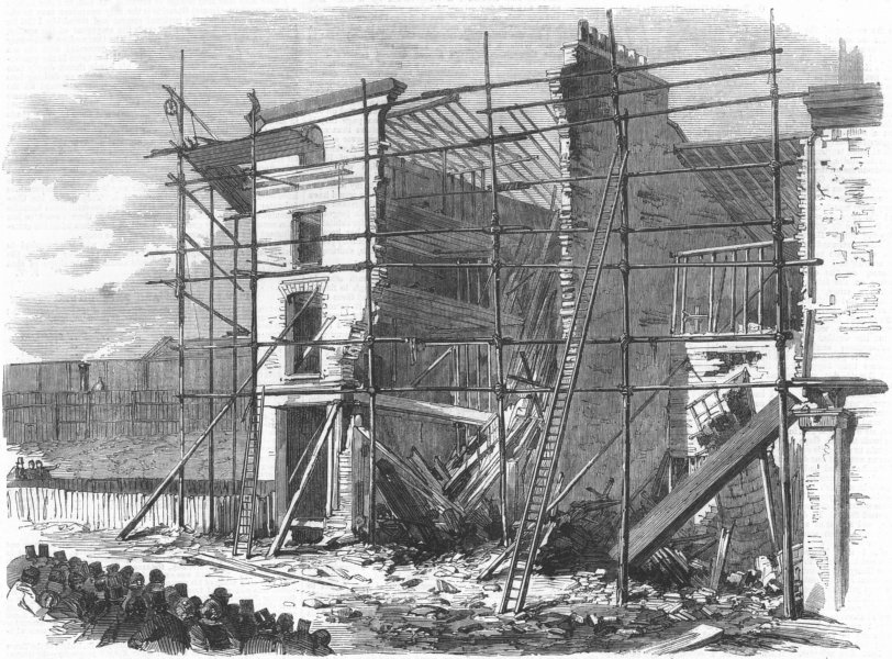 Associate Product LONDON. Fall of 3 houses, Amherst Rd, Hackney, antique print, 1862