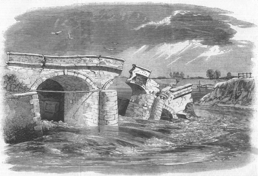 Associate Product NORFOLK. Fall of the sluice, Ouse, near Lynn, antique print, 1862
