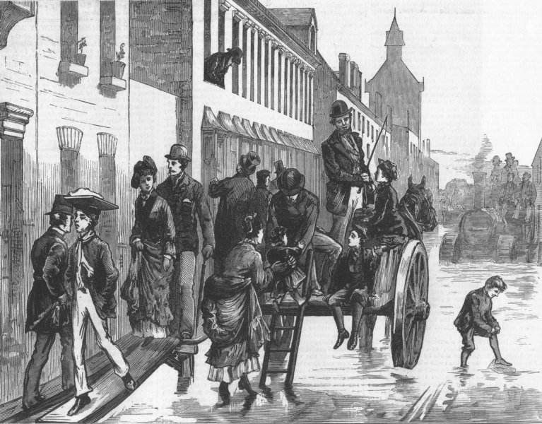 Associate Product LINCS. A Street in Lincoln, antique print, 1872