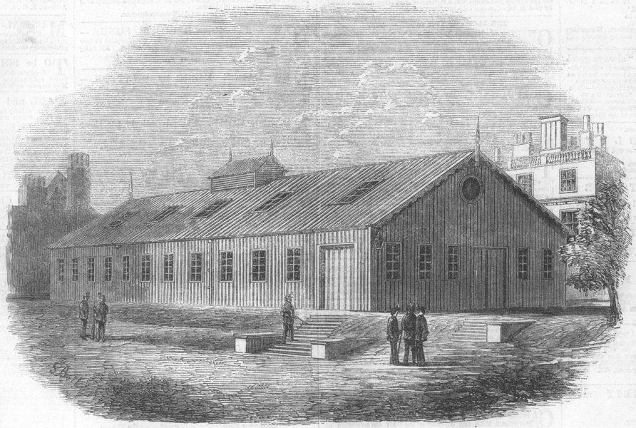 Associate Product LONDON. Drill Shed, Burlington Gardens, antique print, 1862