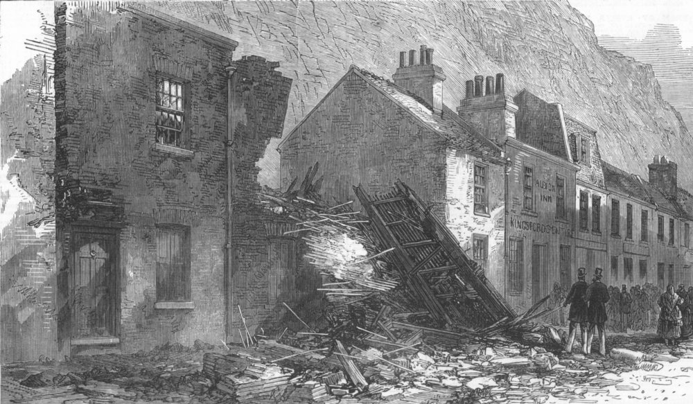 Associate Product KENT. Houses destroyed at Dover by fall of cliff, antique print, 1872