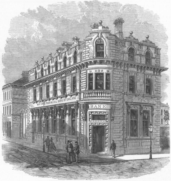 LEICS. The National Provincial Branch, Leicester, antique print, 1872