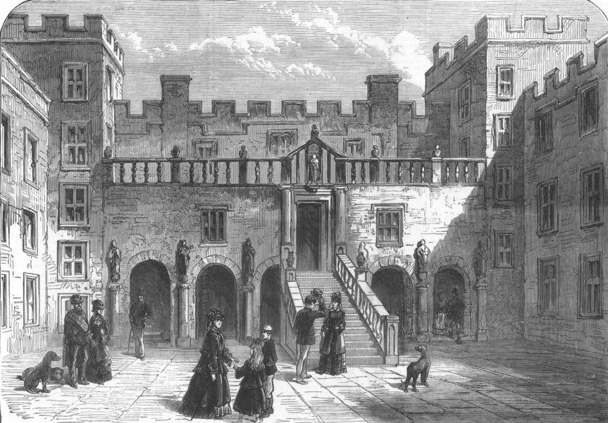 Associate Product Courtyard of Chillingham Castle, Northumberland, antique print, 1872