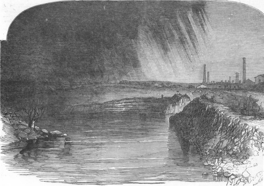 Associate Product LANCASHIRE. Remains of the burst reservoir, at Bury, antique print, 1852