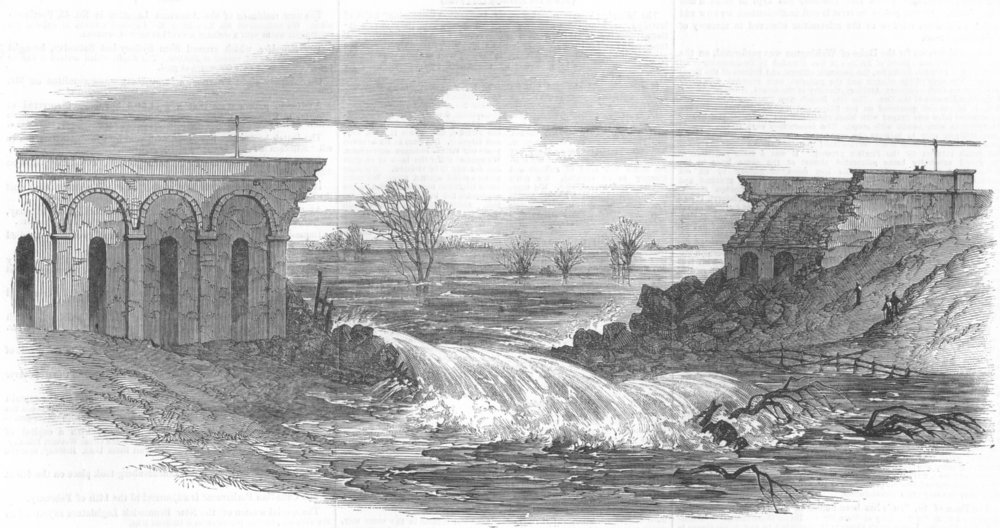 Associate Product LEICS. Ruined Crows Mills railway viaduct, Leicester, antique print, 1852