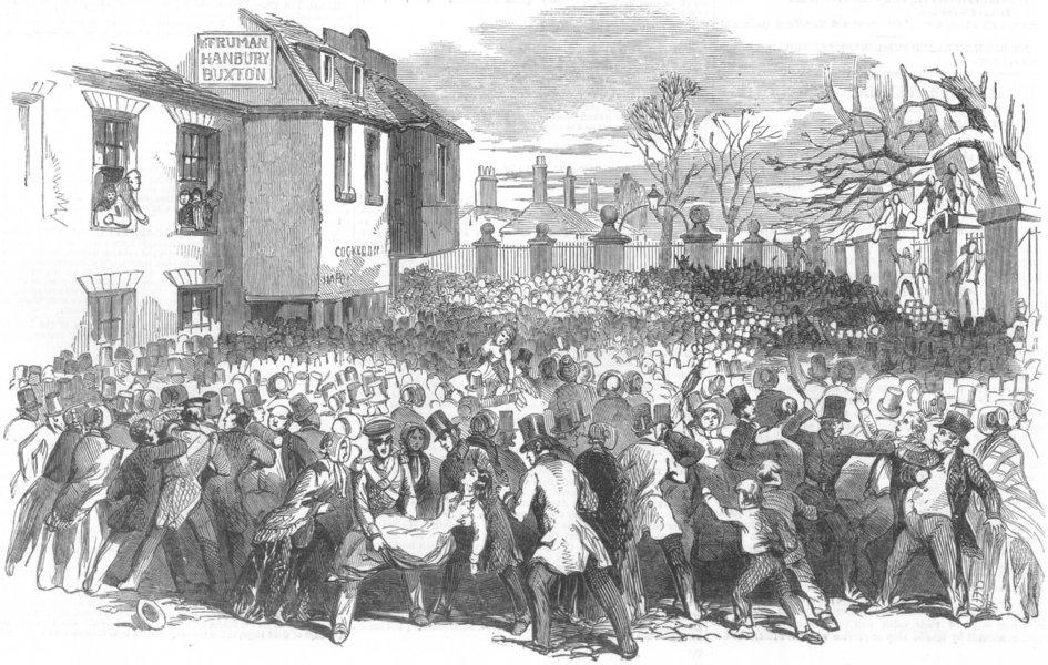 Associate Product LONDON. Scene of the Catastrophe, Chelsea Hospital, antique print, 1852