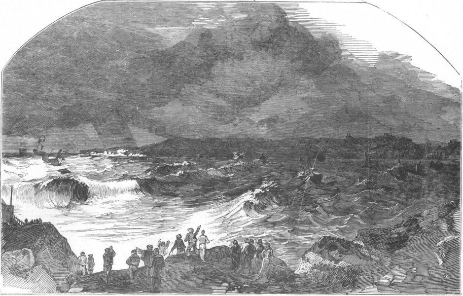 Associate Product NORTHUMBS. Northumberland Coast during gale, antique print, 1852