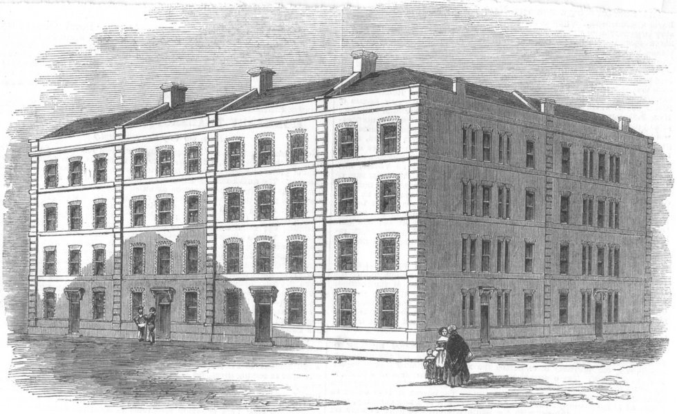 Associate Product LONDON. proposed working class housing, St James's, antique print, 1852