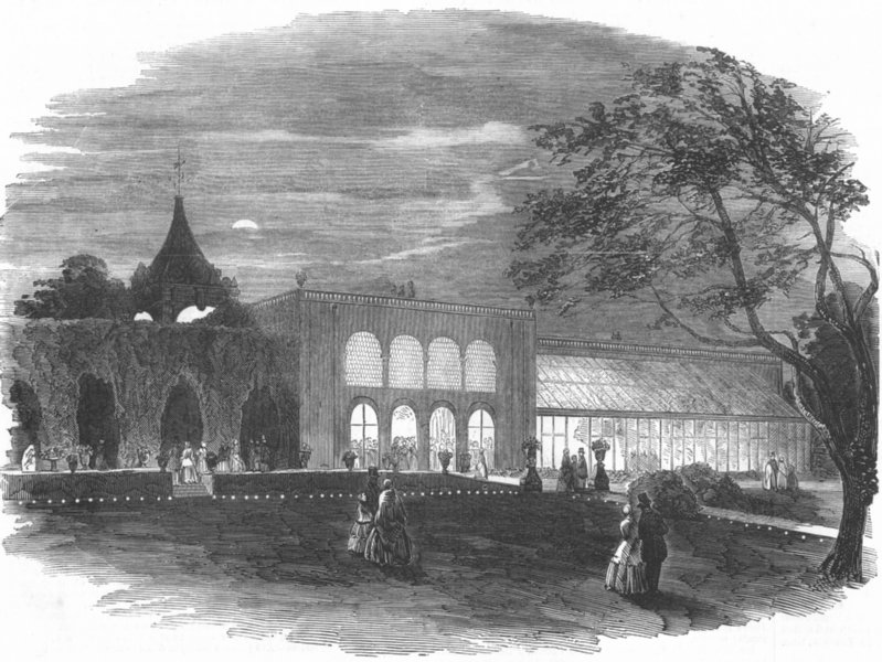 Associate Product NETHERLANDS. Garden fete given by Lord Holland, antique print, 1852