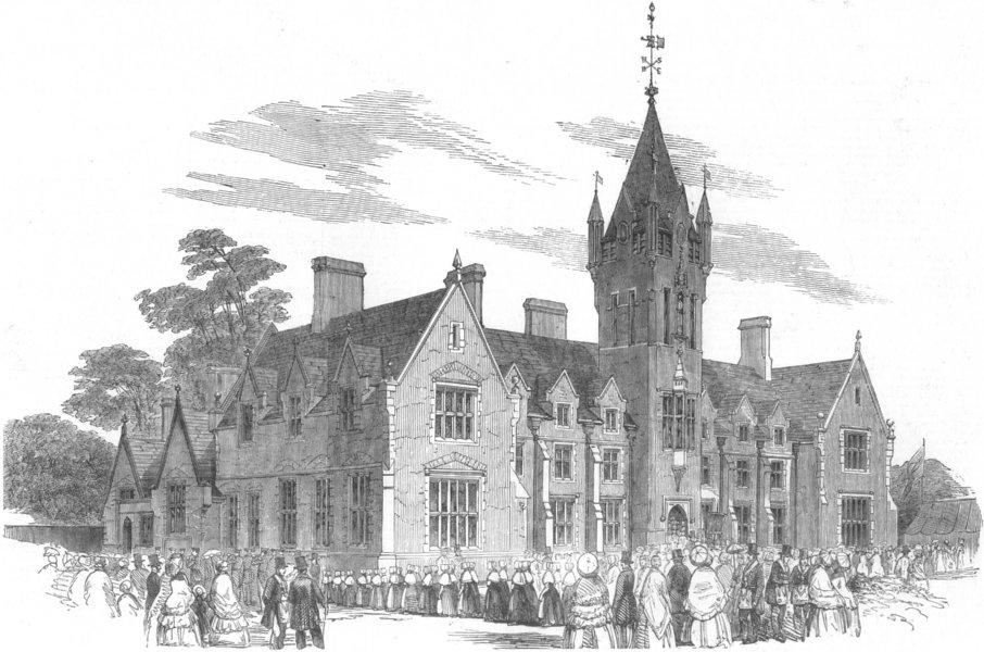 Associate Product LONDON. Royal Freemasons School, Wandsworth common, antique print, 1852