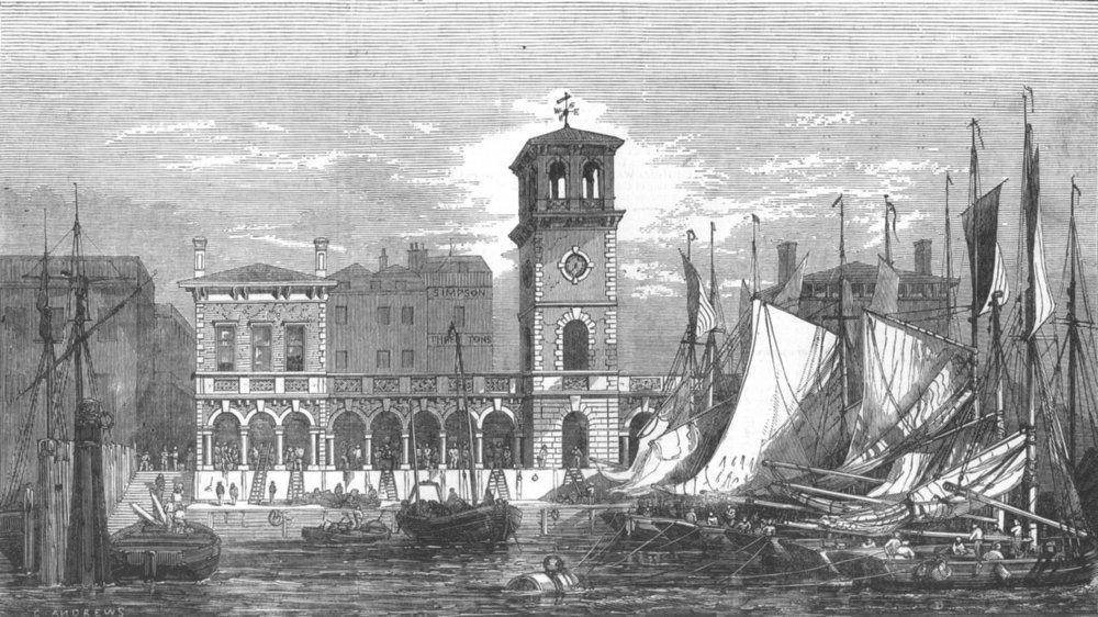Associate Product LONDON. Billingsgate new market, antique print, 1852