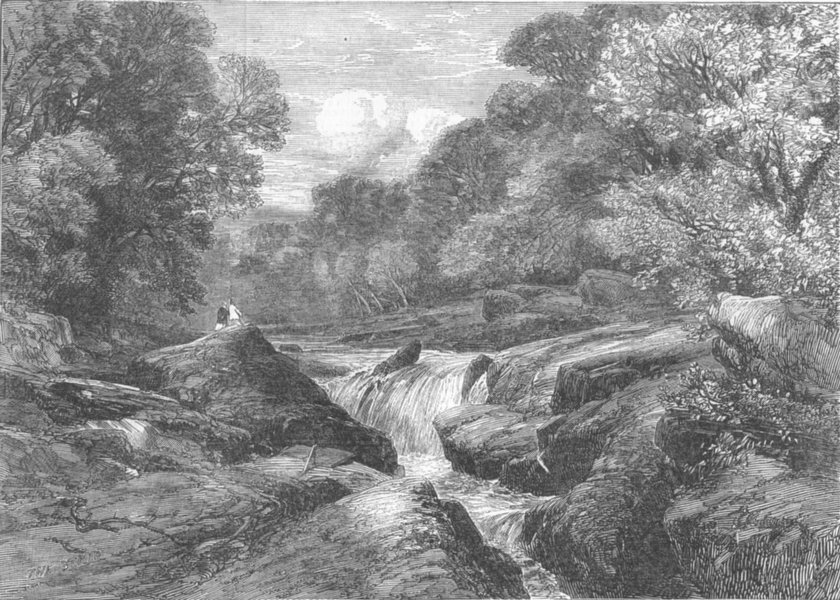 Associate Product YORKS. The Strid, Wharfdale, Yorkshire, antique print, 1852