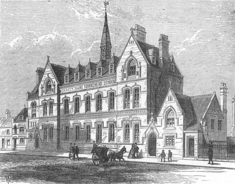 Associate Product LONDON. Chauncy Hare Townshend Schools, Westminster, antique print, 1876
