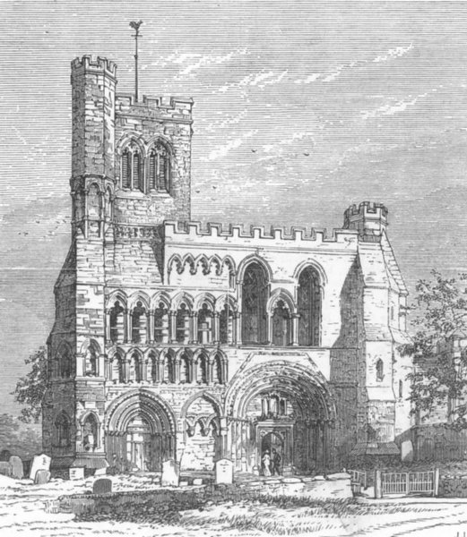 Associate Product BEDS. The Priory Church, Dunstable, antique print, 1876