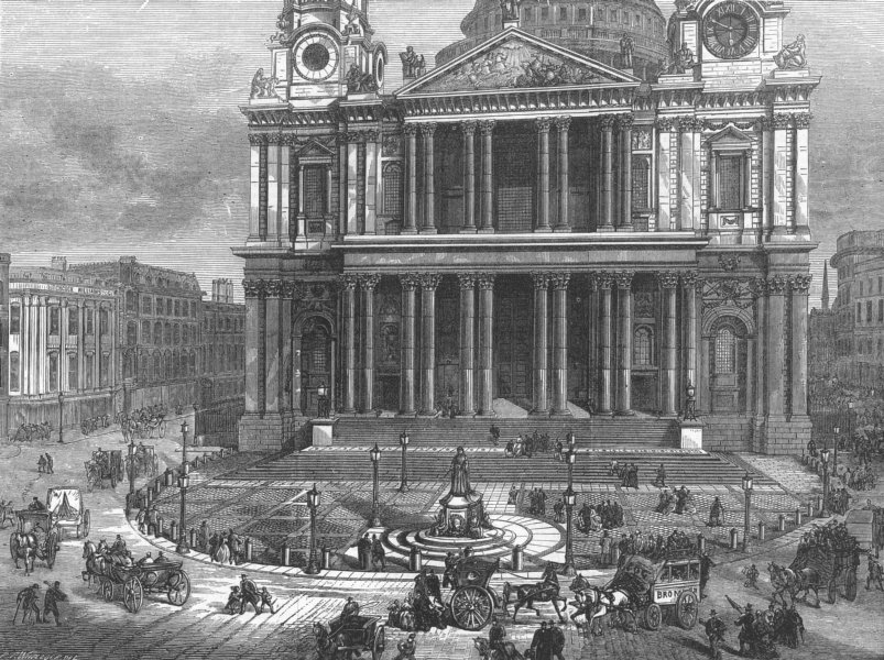 Associate Product West area of St Paul's Churchyard & Cathedral, London, antique print, 1874