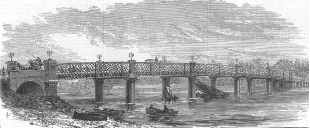 Associate Product New bridge over the Thames at Wandsworth, London, antique print, 1874