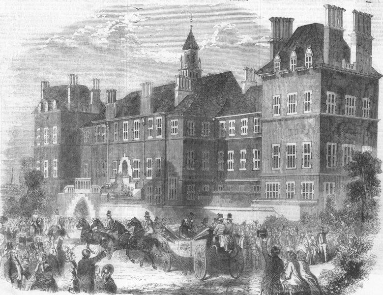 Associate Product LONDON. Prince Albert at travellers' school, Pinner, antique print, 1855