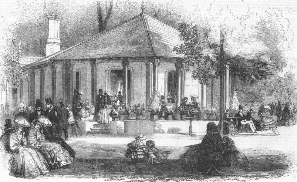 Associate Product LONDON. New cafeteria pavilion, Kensington Gdns, antique print, 1855