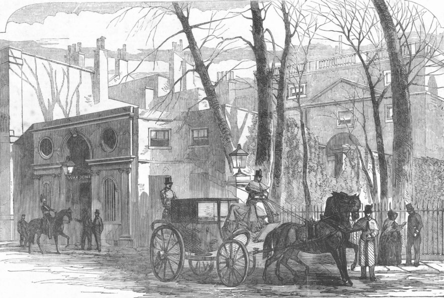 Associate Product LONDON. Pembroke House, Whitehall Gdns, War office, antique print, 1854
