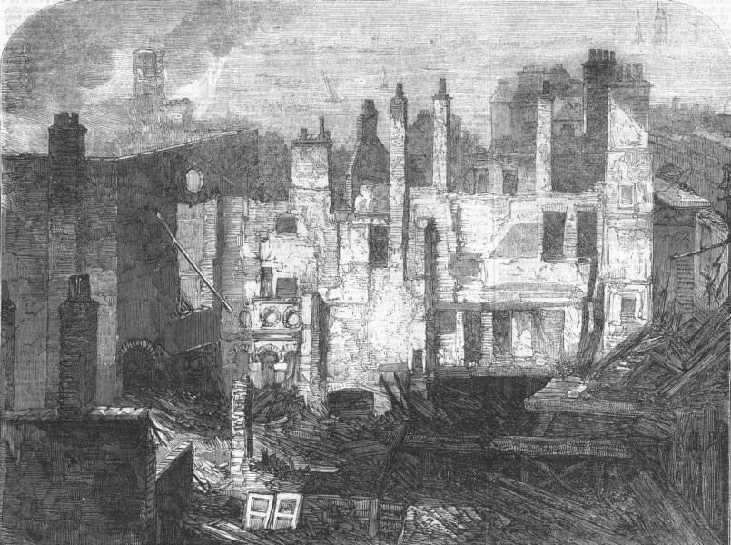 Associate Product LONDON. Remains of Whittington Club, after fire, antique print, 1854