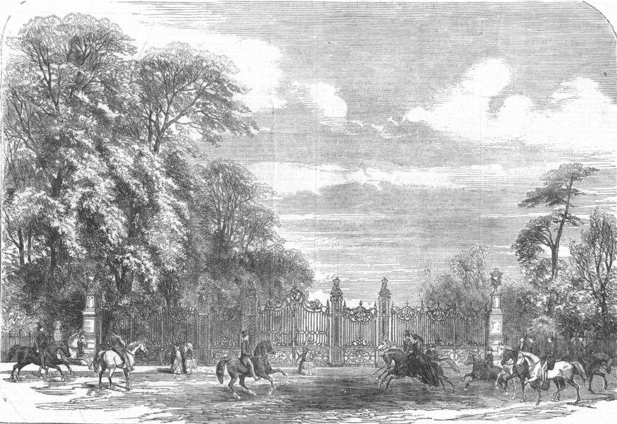 Associate Product LONDON. Hyde Park-Coalbrookdale Gates, Rotten Row, antique print, 1854