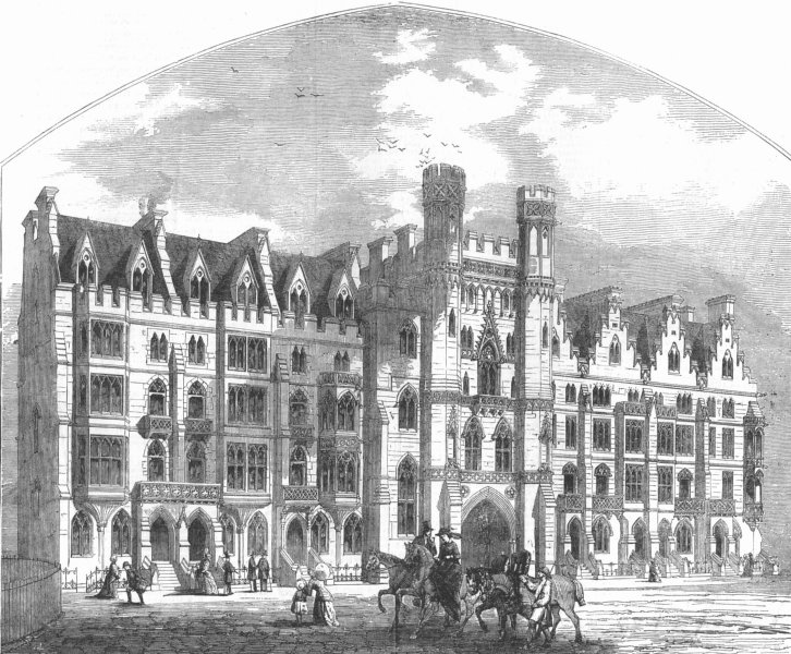Associate Product LONDON. Westminster-new houses, Broad Sanctuary, antique print, 1854