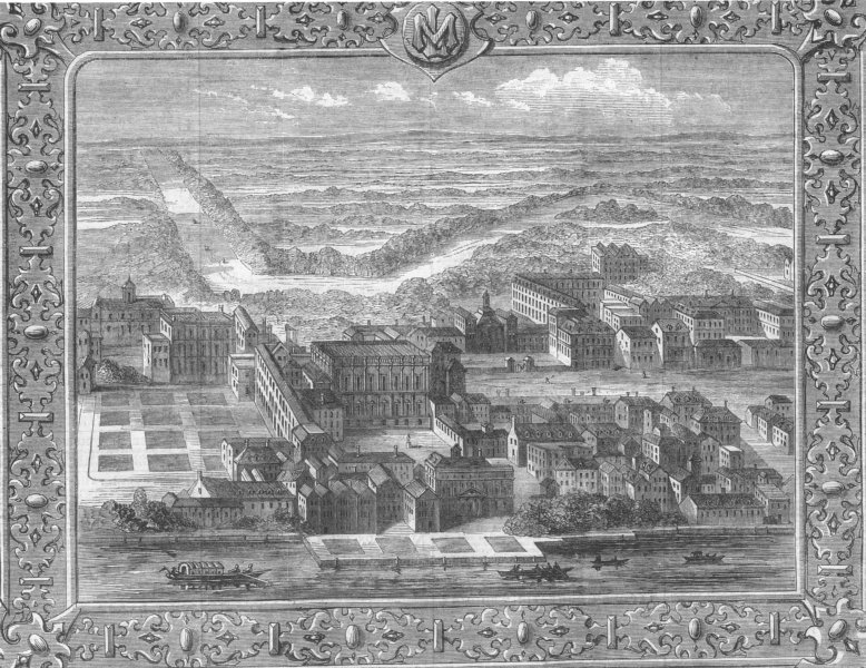 Associate Product LONDON. Whitehall as it was before the 1691 fire, antique print, 1862