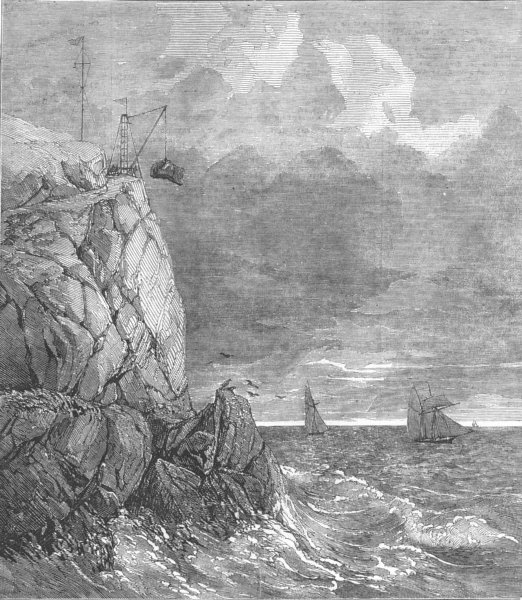 Associate Product CORNWALL. Lizard Serpentine quarry, Cadgwith, Cornwall, antique print, 1854