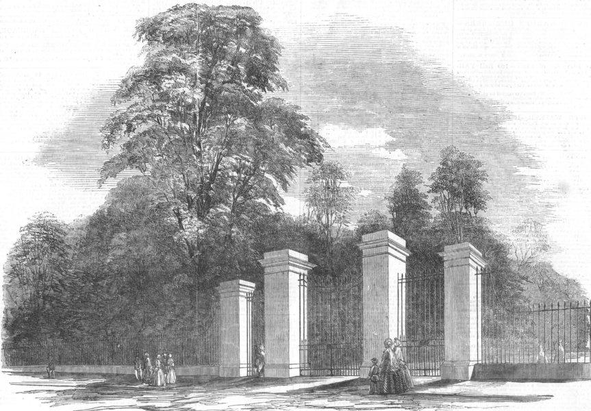 Associate Product LONDON. Kensington Gdns-new gates, Bayswater Rd, antique print, 1854