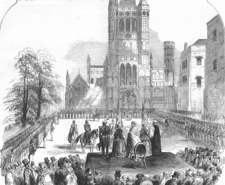 Associate Product CAMBS. Awarding colours to the Militia, Ely, antique print, 1854