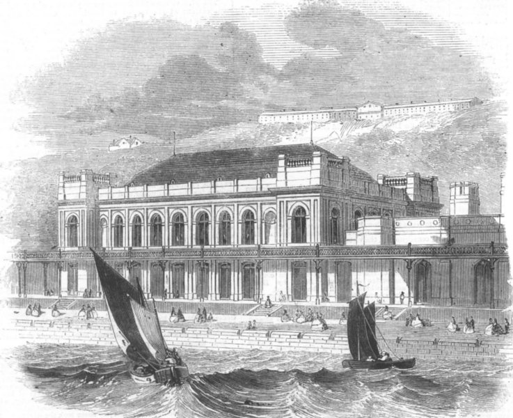 Associate Product YORKS. Music saloon recently built at Scarborough, antique print, 1858