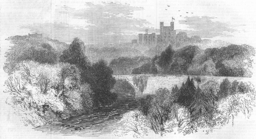 Associate Product WALES. Penrhyn Castle, Llandegai, antique print, 1859