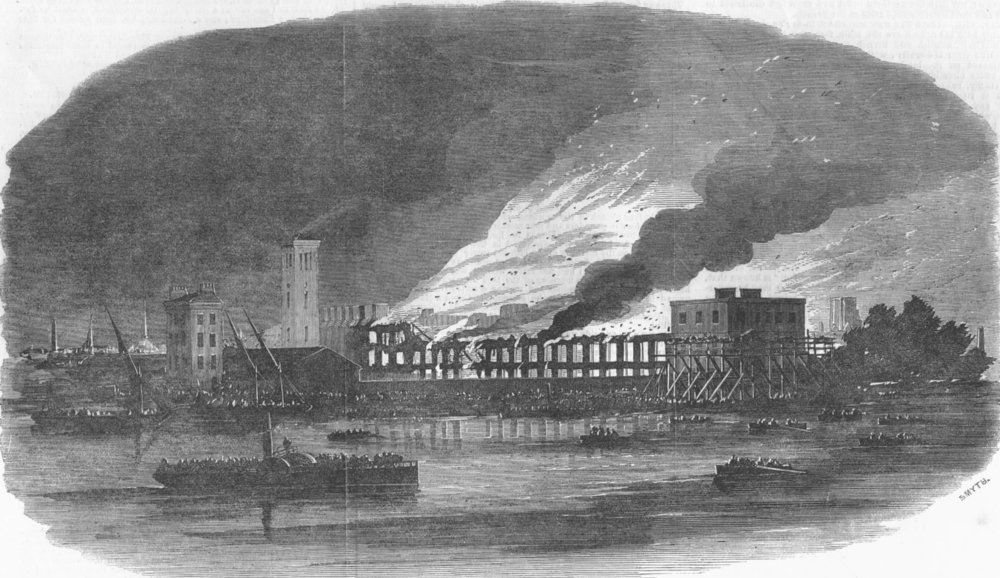 Associate Product LONDON. Fire at Cubitts building works, Thames Bank, antique print, 1854