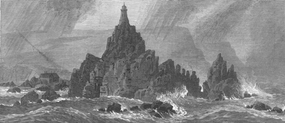 Associate Product CHANNEL ISLES. New lighthouse, Corbiere Rocks, Jersey, antique print, 1874