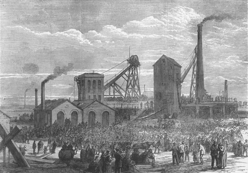 Associate Product LANCS. Astley colliery, Dukinfield. explosion, antique print, 1874