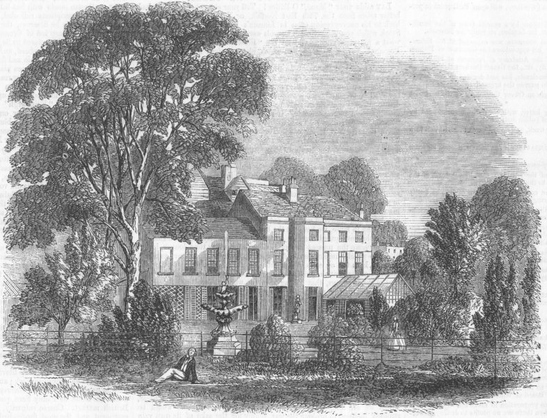 Associate Product LONDON. Roger's birthplace at Newington Green, antique print, 1856