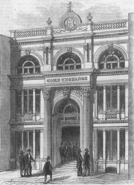 Associate Product YORKS. The new Corn Exchange, Hull, antique print, 1856