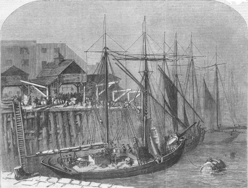 Associate Product LONDON. Landing goods, Fresh Wharf, London Bridge, antique print, 1856