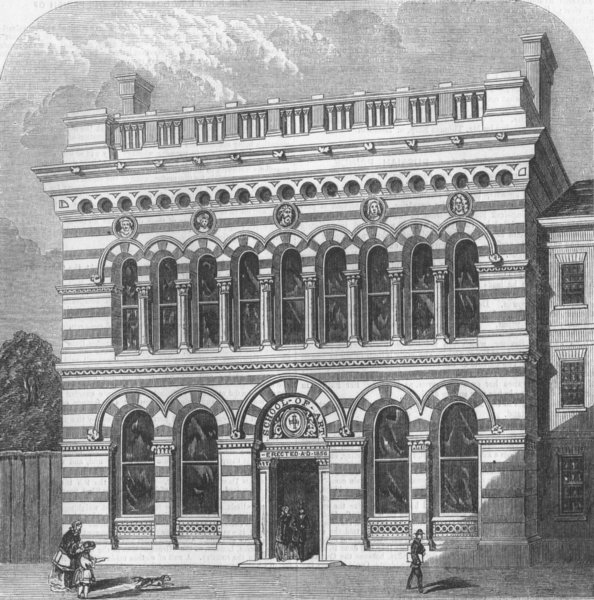 Associate Product YORKS. The new Sheffield School of Art, antique print, 1856